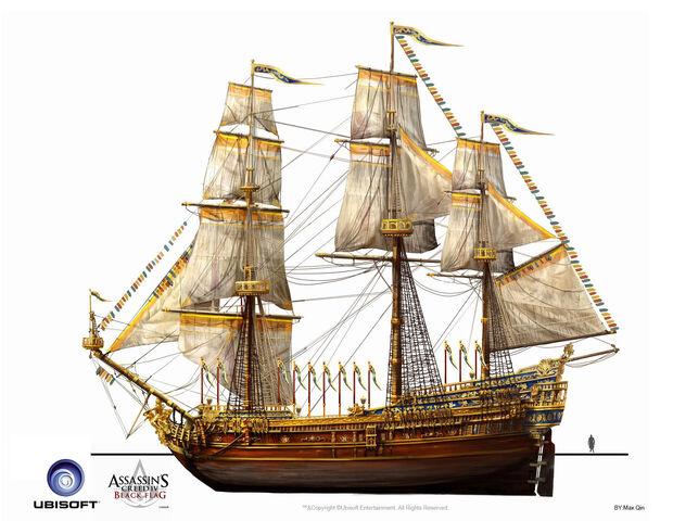 File:Assassin's Creed IV Black Flag -Ship- Royal Convoy - Treasure Ship by max qin.jpg