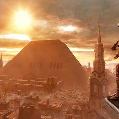 Ratonhnhaké:ton, im Hintergrund die Pyramide