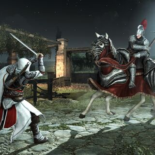 Ezio facing a horseman on a Destrier