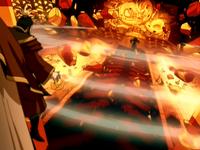 Roku destroys the throne room