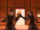 Suki and Sokka train