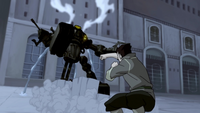 Bolin attacking a mecha tank