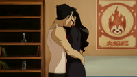 Mako and Asami kiss in the apartment