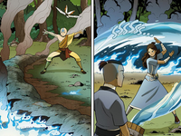 Aang and Katara extinguish the fire