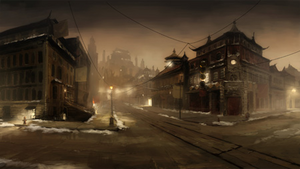 Republic City streets at night