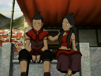 Katara cheers up Sokka