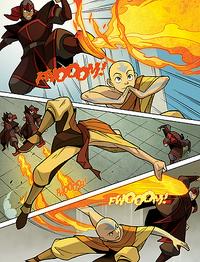 Fire Nation firebenders fighting Aang
