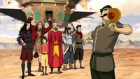 Team Avatar holds an airbending show