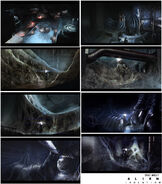 Alien Isolation Concept Art BW reactor-core-hive