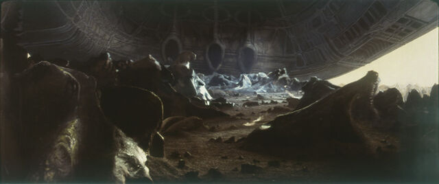 File:Ray Caple's matte painting of the derelict alien ship - it was never used in the final cut.jpg
