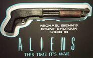 Hicks' stunt shotgun in display case