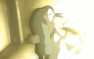 Ling Yao Trying to Escape From Fuhrer King Bradley While Blinded by Flashbomb