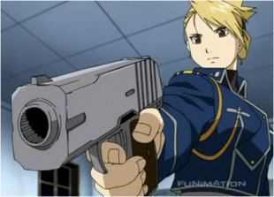 Riza Hawkeye While Punishing Black Hayate After he Goes on the Wall