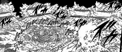 Madara Uchiha destroys six moutains while fighting Hashirama with Susanoo-clad Kurama
