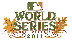 "The words ""World Series"" above the text ""2011Fall Classic"" with the logo of Major League Baseball."