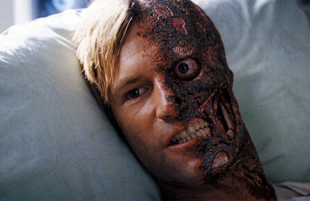 Aaron Eckhart as Two-Face in  Face Burned Off