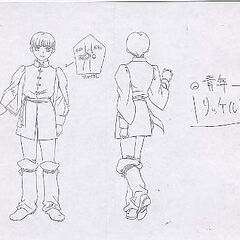 Variant of the front and back view sketches of Rickert, featuring a close up illustration of his button, for the 1997 anime.