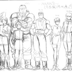 A height comparison between an older Rickert, Guts, Griffith, Casca, Judeau, Pippin, Corkus, and <a href=