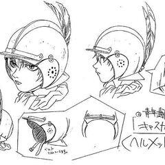 Concept art of Casca's helmet for the 1997 anime.