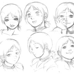 Profile drawings of an older Judeau showing various expressions for the 1997 anime.
