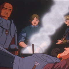 Conversing with the Hawks before rescuing Griffith.