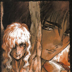 Extra art of Casca clutching her sword as Griffith is tortured at the King of Midland's behest for the 1997 anime.