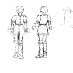 Front and back view sketches of a younger Rickert for the 1997 anime.