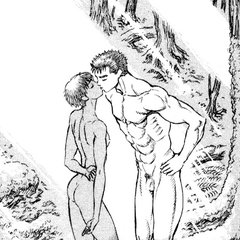 The two lovers kiss after Guts asks Casca to accompany him on his journey.
