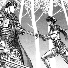 Casca drives her sword into Guts after he returns to the Band of the Hawk.