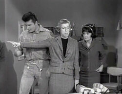 Max Baer Jr, Nancy Kulp and Sharon Tate in The Beverly Hillbillies, The Giant Jackrabbit episode