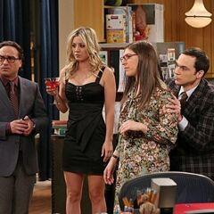 Sheldon using Amy as a human shield.