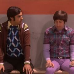 Howard and Raj are the spectators at Sheldon and Kripke's match.