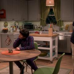 Bernadette discussing the floor squeaks with her Dad.