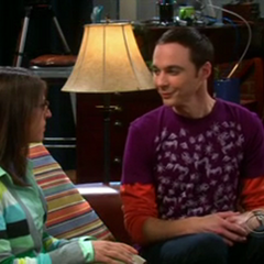 Sheldon smiles at Amy after one of his famous Bazinga moments