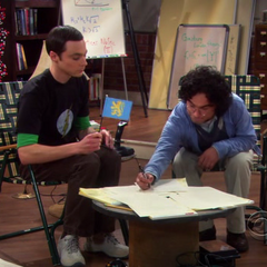 Leonard signing Sheldon's Roommate agreement.