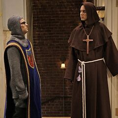 Leonard and Sheldon in Renaissance costumes.