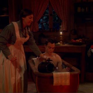 Amelia warming up Cooper's bath water.