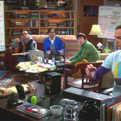 Sheldon trying to disturb the gang playing his thermin.