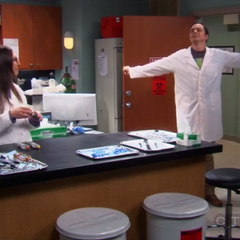 Sheldon working in Amy's lab.