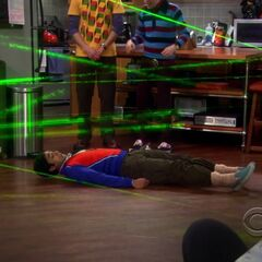 Raj playing the laser game.