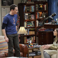Amy calming Sheldon.