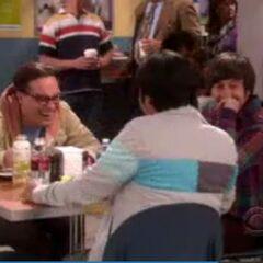 Leonard, Howard and Raj laugh at Sheldon's costume.