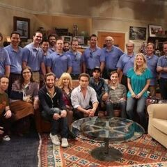 The cast with The Mars Rover landing team after the taping of the episode.