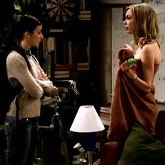 Gilda finds Katie out of a towel.