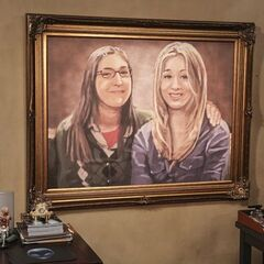 The painting of Penny and Amy mounted in 4A.