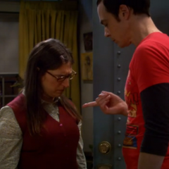 Amy having to take care of Sheldon's
