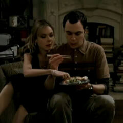 Katie eating out of Sheldon's portion.