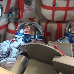 Howard on board the Soyuz capsule.