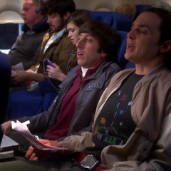 Howard and Sheldon experiencing turbulence.