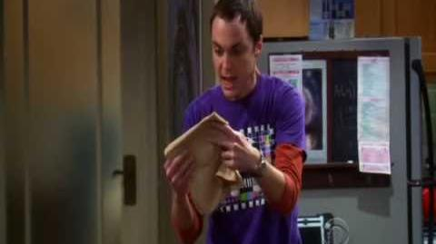 Sheldon gets a napkin signed by Spock